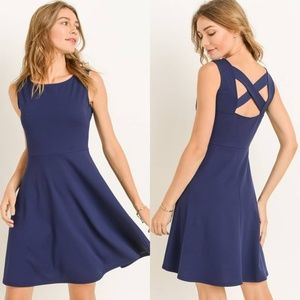 Gorgeous NWT Navy Dress with Criss Cross back